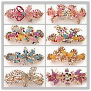 wholesale mix design imitation jade style hot rhinestone folder hairclips spring hair clip women fashion barrettes