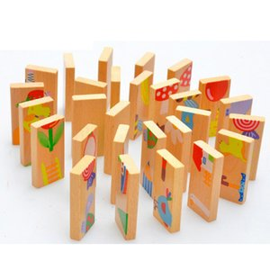 Wholesale Unisex Baby Kid Animal Domino Puzzle Blocks Toy Safe Wood Domino Educational Toys Gift for Kid Above Years Old
