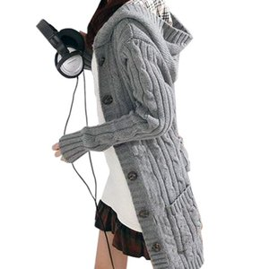 Wholesale-Women Long Sleeve Winter Warm Sweater Knitted Cardigan 2016 Fashion Loose Sweater Outwear Jacket Coat With Belt on Sale
