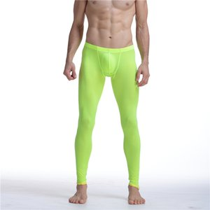 Sexy Men Mesh Transparent Mesh Erotic Ultra-thin Gay Long Johns Ice Silk Leggings Pants Tights Casual Long Underpants Men Pants Sheer on Sale