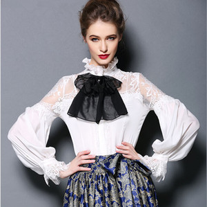 Wholesale Korean Women s Shirts Autumn Spring long sleeve office wear Bow Sexy chiffon blouses white black natural silk tops