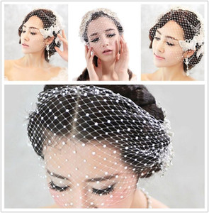 Wholesale Cheap Birdcage Wedding Veil Pearls Short Bridal Veil One Layer High Quality Hair Accessories White Wedding Veils
