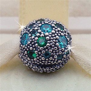 S925 Sterling Silver Cosmic Stars with Teal CZ Clip Charm Bead Fits European Pandora Jewelry Bracelets Necklaces & Pendants