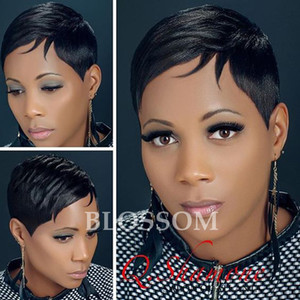 Straight Short Human Hair Wigs For Black Women Brazilian Pixie Human Hair Lace wigs Full Lace Hair Wigs with Bangs