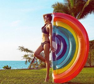 Wholesale New Hot Sale Inflatable Rainbow Swimming Float Pool Float Rainbow for Adult Tube Raft Kid Swimming Ring Summer Water Toy LLFA