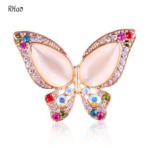 Wholesale Romantic RHao Gold plated butterfly Brooch pins for women Colorful Rhinestone brooch pins for wedding bouquets jewelry