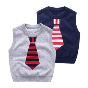 Wholesale 2017 brand quality boys jacquard tie knitted vest Baby clothes kids sweaters children Autumn winter Screw o neck cotton knitwear L001