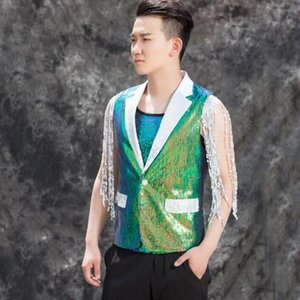Wholesale Original colete masculino men vest clothing chain sequins hombre personalized singer dance stage street star style dress green