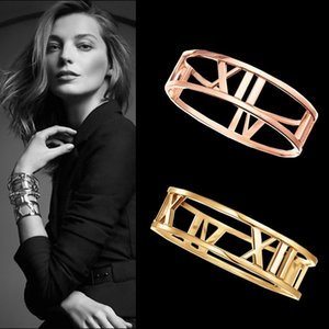Fashion titanium steel love bracelet Roman numerals Hollow Cuff Bangles Bracelets For Women Gold plated Bangles Jewelry Wholesale