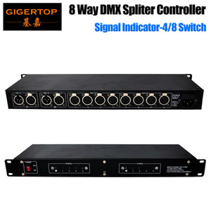 Wholesale Freeshipping 8 Way DMX 512 Spliter 4 8 Electrically Isolated Output Changeable IU High 19 Inch Rack Mount Construction 110V-220V
