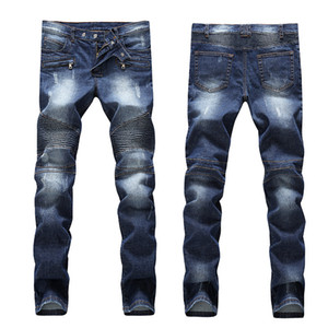 Hot sale Ripped Skinny Jeans Fashion Designer Mens Shorts Jeans Slim Motorcycle Moto Biker Causal Mens Denim Pants Hip Hop Men's Jeans