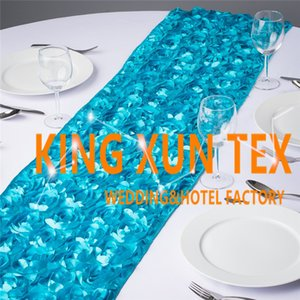Wholesale Factory Price Satin Rosette Fabric Table Runner Fit On Table Cloth For Wedding And Event Decoration