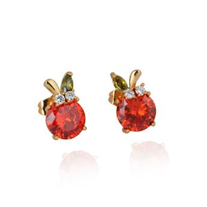 Wholesale Red Crystal Earrings for Women K Yellow Gold Plated Earring Charms Jewelry Cubic Zirconia Cute Rabbit Stud Earrings for Kids Teen Girls
