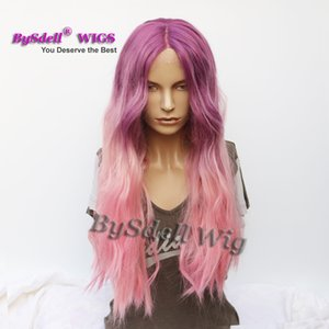 ingrosso parrucche piene sintetiche in pizzo ondulate-Beauty Ombre Two Tone Colore Synthetic Grape Viola Ombre Pink Purple Color Parrucca Long Wavy Lace Front Full Lace Full Hand Tied Wig
