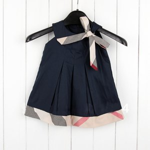 IN stock Hot selling 5 colors 2018 NEW arrival summer Girls Sleeveless dress high quality cotton baby kids plaid bow dress free shipping