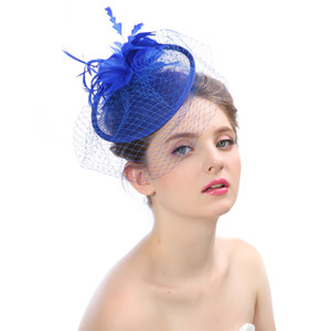 Wholesale blue kentucky derby fascinator hats resale online - Popular Multi Color Bridal Headdress Flowers Fascinator Hats Hair Ornaments Cap Sinamany Hats Wedding Kentucky Derby