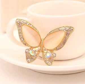 Wholesale Opal Butterfly Brooch for Women Rhinestone Broche Fashion Bijouterie Wedding Jewelry Colors Available Gold Plated DHL