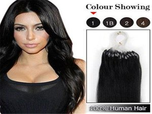 100strands set Micro Ring Loop Hair Extensions Body Wave 1g strand #1B Black #8 Brown #613 Blonde Red More Color Human Hair on Sale