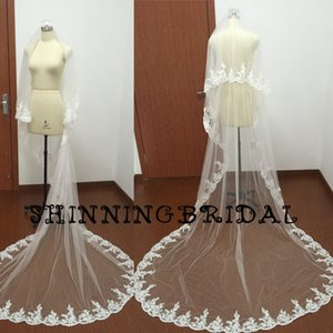 Wholesale Wedding Veils Real Picture Two Layers Court Train Long Tulle Lace Appliques Edge Cheap Bridal Veils Wedding Accessories Wedding Veil