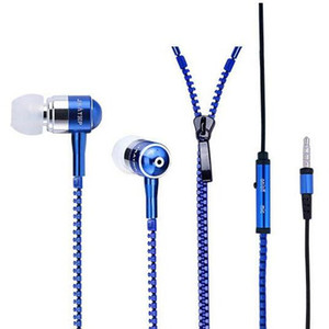 Wholesale Zipper Earphones Headset MM Jack Stereo Bass Earbuds In Ear Zip MIC Colorful Headphone for Iphone Plus Samsung S6 MP3 MP4