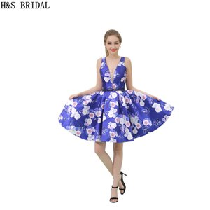 Blue Floral Print Girls 2017 Homecoming Dresses Real Model Photos V Neck Short Party Dress Cocktail B041