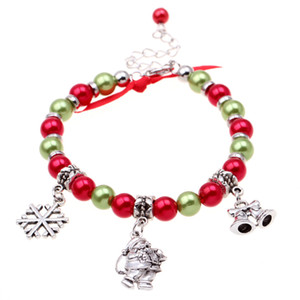 Fashion Jewerly Merry Christmas Day Bangle  santa Claus   Christmas Bell Snowflake and Pendant Bead Bracelets for Women Gift
