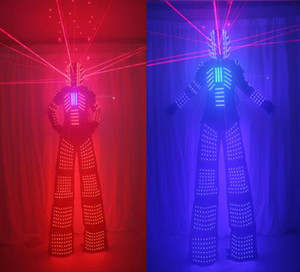 LED Robot Suits Robot Costume David Guetta LED Suit With Laser Helmet illuminated kryoman led stilts clothes