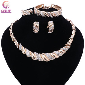Wholesale dubai plated gold big set for sale - Group buy Fashion Women Dubai Gold Plated Crystal Jewelry Sets Big Nigerian Wedding African Jewelry Sets African Beads Jewelry Sets