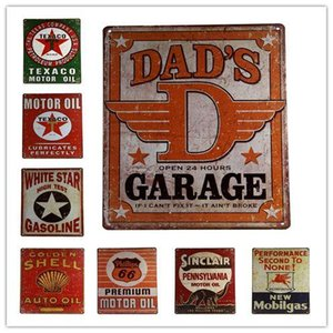 Wholesale Dad s Garage Tin Sign Metal Poster GAS Oil Metal Sign Tin New Vintage Style Gas Garage Bar CM