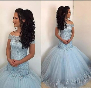 Wholesale Newest 2020 Sky Blue Mermaid Prom Dresses Off Shoulder Lace Appliques Beaded Puffy Tulle Sweet 16 Long Party Dresses Plus Size Evening Gowns