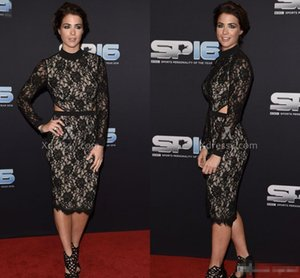 Gemma Atkinson Black Full Lace Long Sleeve High Neck Short Celebrity Evening Dresses 2017 Sheath Waist Cut Women Club Cocktail Party Dresses on Sale