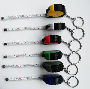 Hot Mini Measure Tape With Key Chain Plastic Portable 1m Retractable Ruler Centimeter Inch Tape Measure