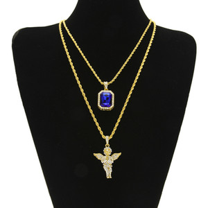 Wholesale Iced Out Ruby Necklace Set Brand Micro Ruby Angel Jesus Wing Pendant Hip Hop Necklace Male Jewelry