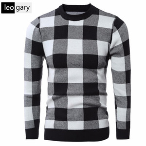 Wholesale Wholesale- Winter Autumn Warm Men Sweater Fashion Classic Plaid 2017 New Men's Knitted Jumper O-neck Men's Pullover Sweaters sudaderas