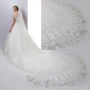 Wholesale 4 Meters Cathedral Length Bridal Veils White Ivory Lace Applique Sequins Edge With Comb Wedding Veil Bridal Accessories CPA887