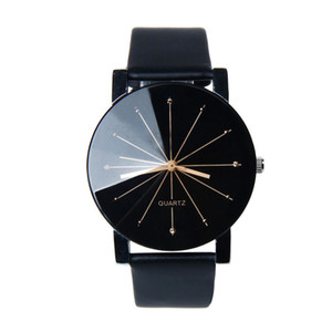 Wholesale watch coupling free resale online - Fashion Casual Leather Band Watches for Lovers Character design Quartz Valentine Watches Asymmetrical Design Couple Watches