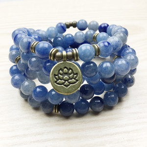 SN1165 High Quality Design Women`s Mala Beads Bracelet Trendy Yogi Necklace Lotus Blue Aventurine Quartz Bracelet Free Shipping
