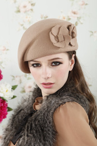 Wholesale New Fashion Brand Winter Beret Hat For Women Beret Hat Female Beanie Cap Flower French Trilby Wool Soft Stewardess Hat