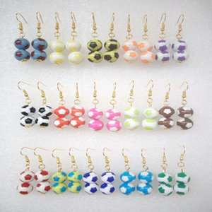 Wholesale 15Pairs Women Mixed Colors Football Shaped Beads Drop Dangle Earrings