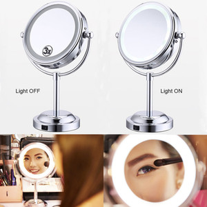 6 inch 3X Magnification Makeup LED Lighted Mirror Dual 2 Sided Round 360 Degree Rotating Cosmetic Mirror Stand Magnifier Mirror