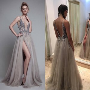 Paolo Sebastia Sexy Beads Thigh Split Prom Dresses Plunging Neckline Appliques Backless Evening Gowns Floor Length Tulle Evening Party Dress on Sale