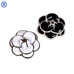 Wholesale New Designer Enamel Camellia Brooch K Gold Plated Luxury Fashion Flowers Brooch for Women Wedding Bride Bouquet Brooches Pins Jewelry Hot