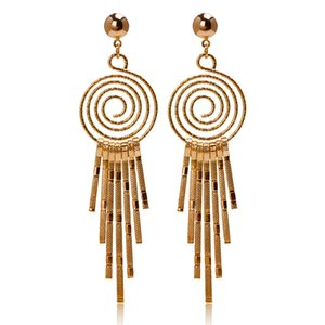 Wholesale New Design K Real Gold plated Dangle Earrings Retro Circle Bead Tassel Women Earrings
