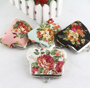 Baby Girls Floral Handbag Vintage Rose Printed mini purse children's accessories Flower buckle coin bag fashion floral wallet