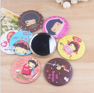 Wholesale Random Color Mini Ladies Compact Hand painted Small Portable Mirrors Assorted Patterns Cartoon Cosmetic Makeup Mirrors