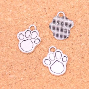 52pcs Antique silver Charms dog paw Pendant Fit Bracelets Necklace DIY Metal Jewelry Making 22*17mm