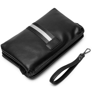 Wholesale Men Bag PU Leather Business Clutch Bags Zipper Large Capacity Male Patchwork Color Handbag Pack Vintage Card Holders Bags BA250
