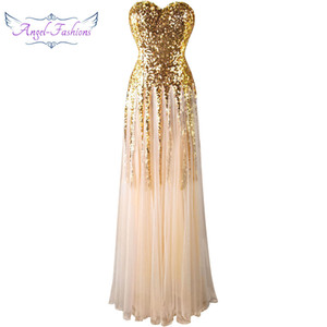 Wholesale Angel-fashions Women New Sequines Sleeveless Party Dresses Tassels Lace up Long Mesh Bridal Gowns Party Dress 106