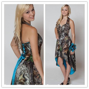 Wholesale In Stock Mossy Oak Camo Bridesmaid Dresses Custom Made Strapless Hi lo Short Camo Wedding Party Dress Camo And Blue