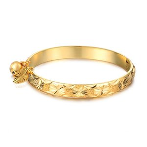 Wholesale yellow gold 18k bangle for sale - Group buy Europe and America Fashion K Yellow Gold Plated Allergic Free Bells Bracelet Bangle for Kids Children with Little Nice Gift BR